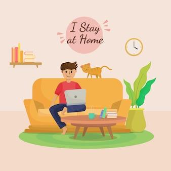 Soggiorno a casa il concetto di illustrazione