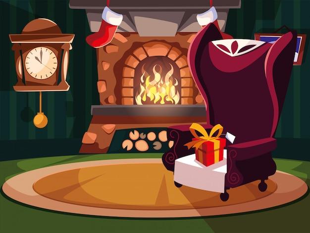 Soggiorno con camino e decorazioni natalizie