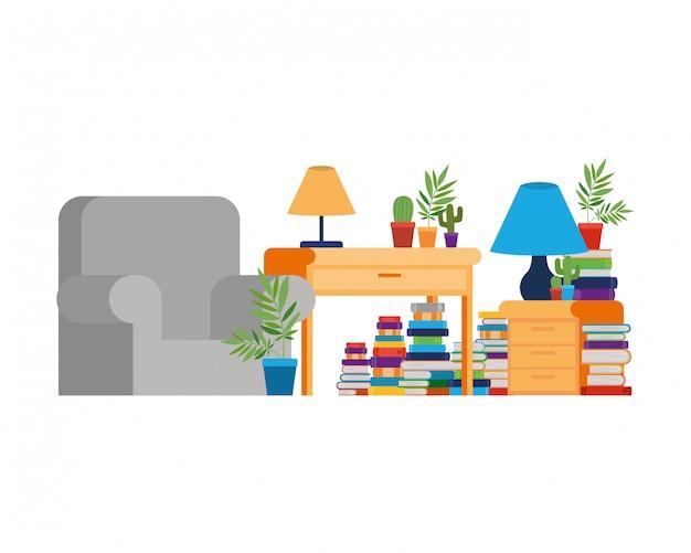 Soggiorno con divano e scrivania con libri