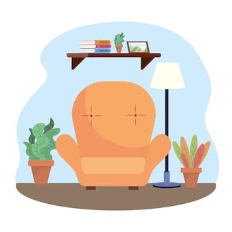Soggiorno con sedia e decorazione di piante