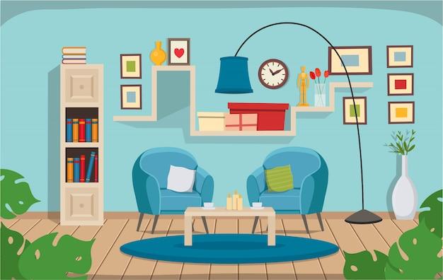 Soggiorno con sedie, libreria, lampada. interni accoglienti in stile piatto del fumetto.