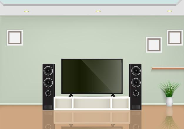 Soggiorno con smart tv sul tavolo e altoparlante audio. illustrazione.