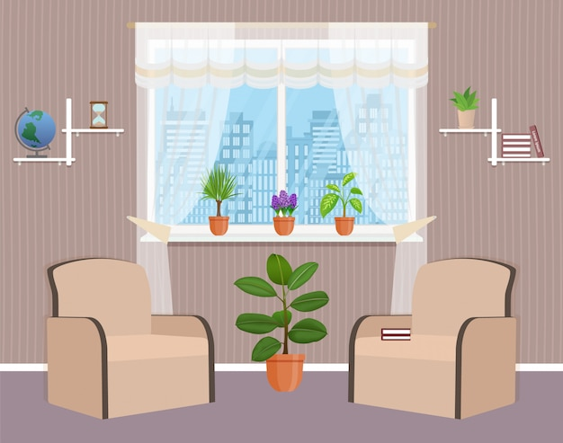 Soggiorno design degli interni con due poltrone, pianta d'appartamento e finestra.