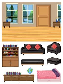 Soggiorno e set di mobili su bianco
