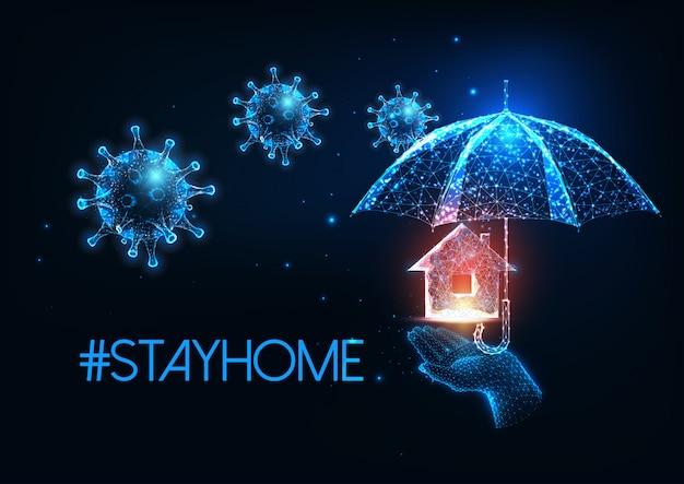 Soggiorno futuristico a casa durante il concetto di quarantena del coronavirus