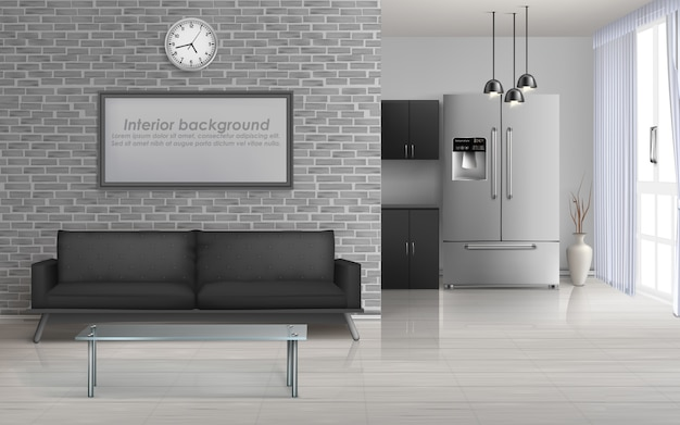 Soggiorno in casa, cucina in studio interni spaziosi in minimalismo