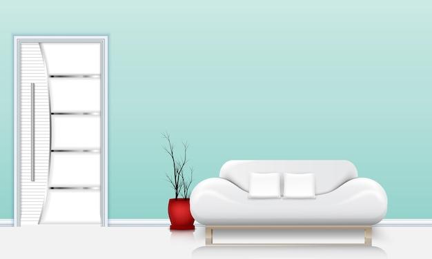 Soggiorno interior design con un divano e cuscini bianchi