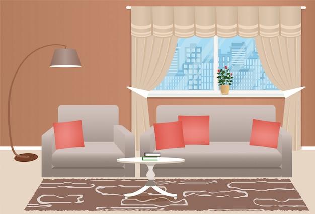 Soggiorno interno con mobili. camera con divano, poltrona, lampada da terra e finestra. stile piatto.
