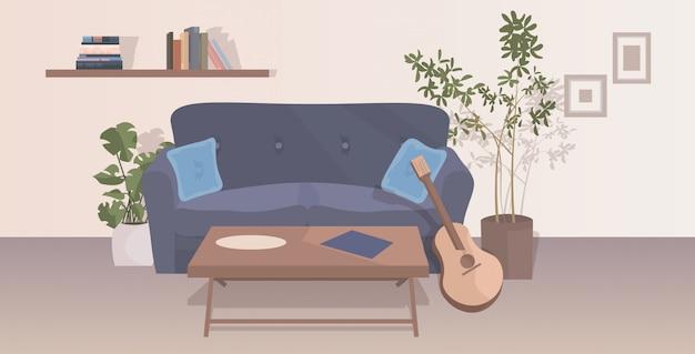 Soggiorno moderno interno vuoto appartamento persone con mobili orizzontale