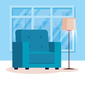 Soggiorno posto a casa con divano