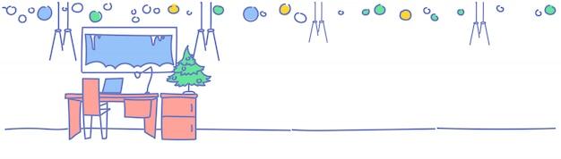 Soggiorno sul posto di lavoro decorato buon natale felice anno nuovo pino sul tavolo casa decorazione d'interni vacanze invernali schizzo doodle