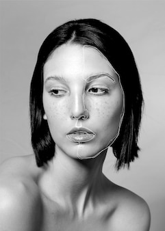 Sognante donna con linee sul viso