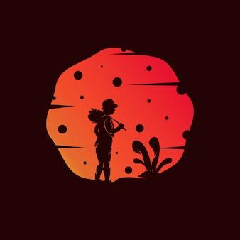 Sogno del bambino sull'illustrazione del tramonto