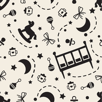 Sogno dolce monocromatico senza soluzione di continuità per sfondo pattern di bambino