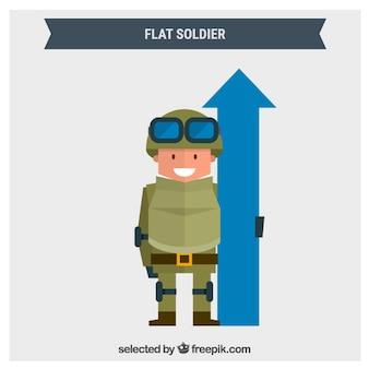 Soldato appartamento con una freccia blu