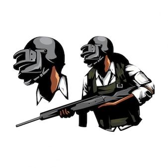 Soldato con fucile a fucile