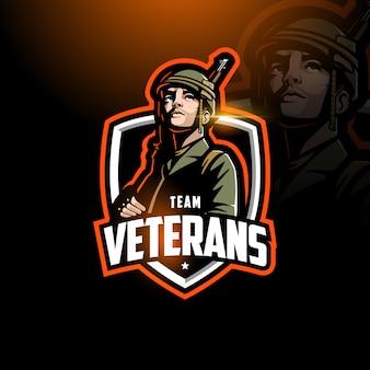 Soldato con fucile in mano esport logo gaming