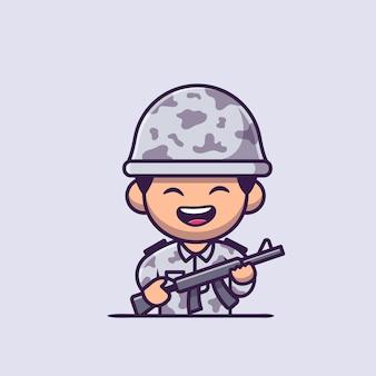 Soldato dell'esercito con la pistola del fumetto icona illustrazione. persone professione icona concetto isolato. stile cartone animato piatto