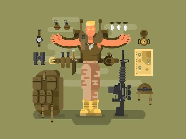 Soldato e munizioni design piatto