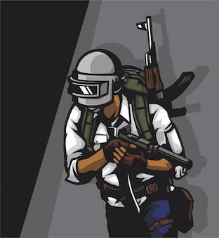 Soldato in un campo di battaglia