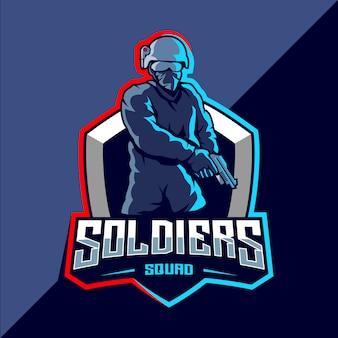 Soldato mascotte esport logo design