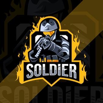 Soldato mascotte logo esport design modello