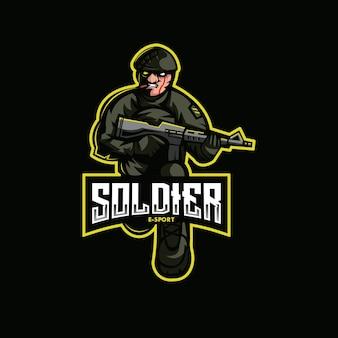 Soldato mascotte logo mascotte esport gaming