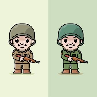 Soldato sveglio in piedi che tiene un'illustrazione del fumetto del fucile