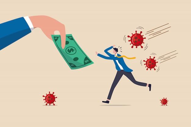 Soldi che aiutano le politiche del governo a dare denaro alle persone per stimolare l'economia