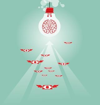 Soldi che volano alla lampadina - concetto di affari
