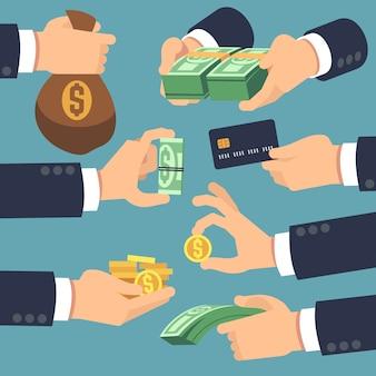 Soldi della holding della mano dell'uomo d'affari. icone piane per prestito, pagamento e cashback concept. vector denaro contante, paga e dando illustrazione