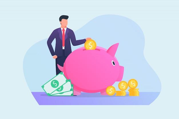 Soldi di risparmio dell'uomo di affari nel concetto del porcellino salvadanaio con