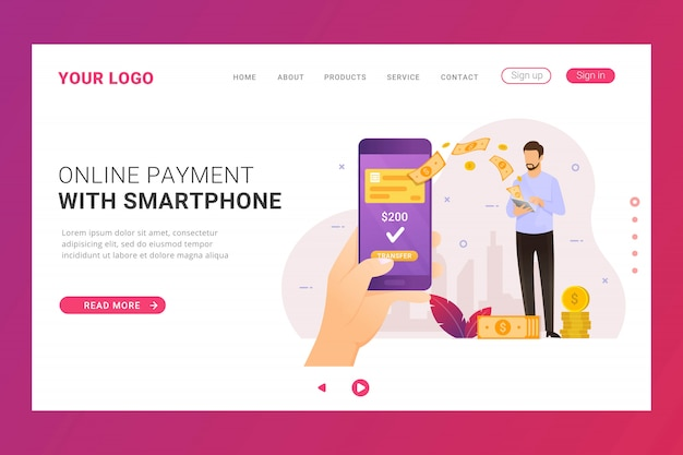 Soldi di trasferimento bancario mobile modello di pagina di destinazione