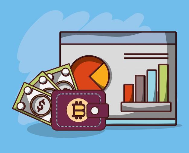 Soldi digitali di transazione di criptovaluta di affari di statistiche del portafoglio di scambio di banconote di bitcoin