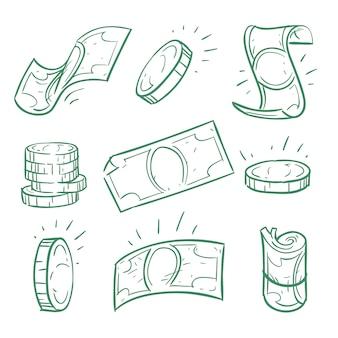 Soldi disegnati a mano. insieme di vettore di banconote e monete del dollaro di scarabocchio. doodle dei contanti dei soldi, illustrazione della banconota di finanza di schizzo della moneta