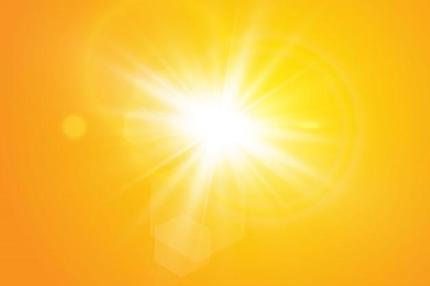 Sole caldo. raggi solari di leto.bliki