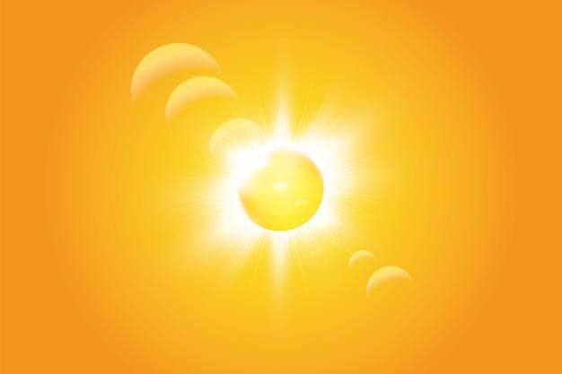Sole caldo su sfondo giallo. estate. bagliore. raggi solari.