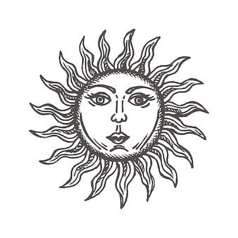 Sole con la faccia stilizzata come incisione disegnata a mano simbolo astrologia vettoriale