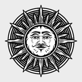 Sole disegnati a mano illustrazioni in stile incisione