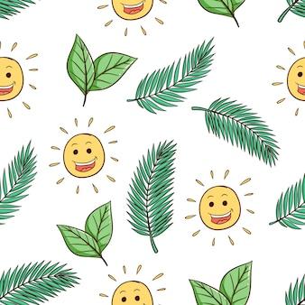 Sole disegnato a mano carino e foglie di cocco senza cuciture