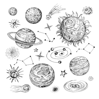Sole disegnato a mano, pianeti, stelle, comete, asteroidi, galassie. illustrazione vettoriale astronomico vintage in stile incisione