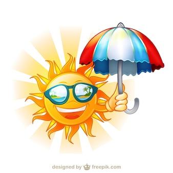 Sole felice con occhiali da sole e ombrello cartone animato, illustrazione,