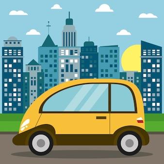 Sole moderno della città di trasporto dell'automobile