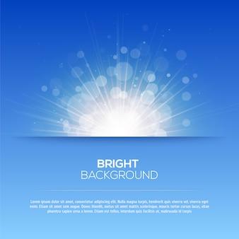 Sole splendente vettoriale, raggi di sole, raggi di sole, bokeh sfondo