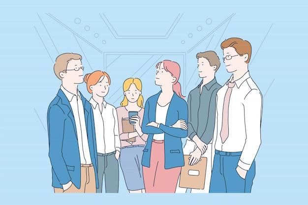 Sollevare, aspettare, insieme, concetto di squadra