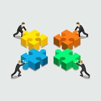 Soluzione aziendale nel concetto di associazione quattro uomini d'affari che spingono i pezzi dello stack di puzzle piatto isometrico