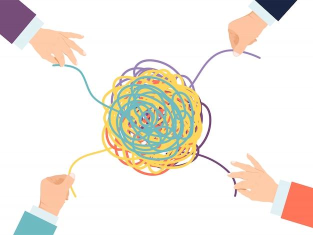 Soluzione di psicoterapia. le mani districano il groviglio della psicologia. la psicologia ha aggrovigliato la terapia.