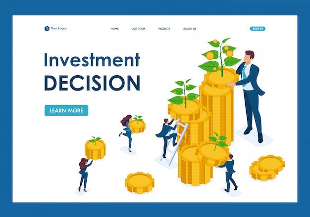 Soluzioni di investimento isometrico per la crescita del reddito, piccoli germogli crescono in una grande pagina di destinazione