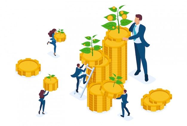 Soluzioni di investimento isometrico per la crescita del reddito, piccoli germogli diventano grandi.