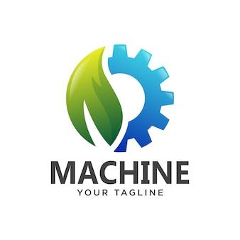 Somple 3d di pendenza di logo della foglia della macchina dell'ingranaggio
